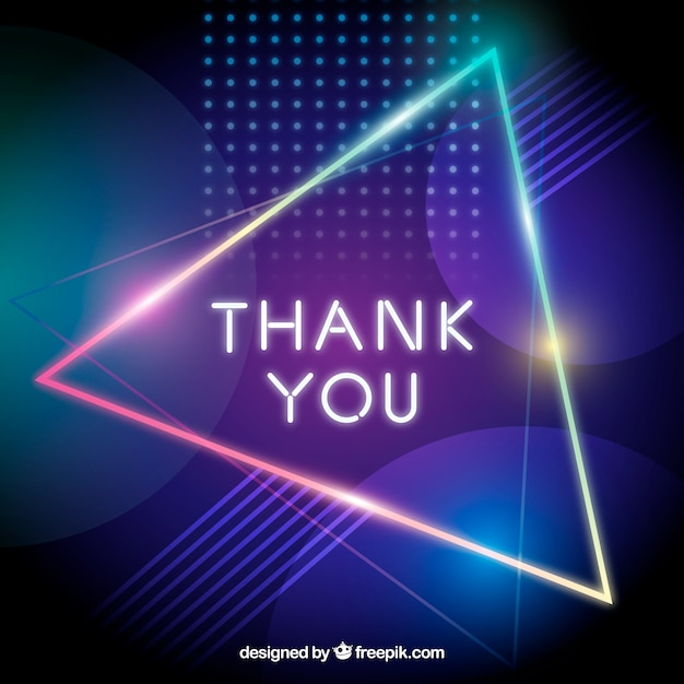 Thank you composition with neon light style Free Vector