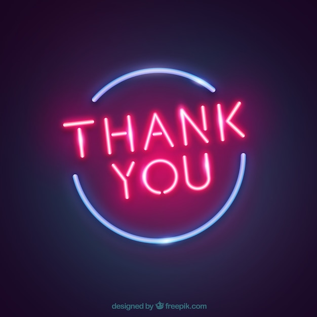 Free Vector | Thank you composition with neon light style