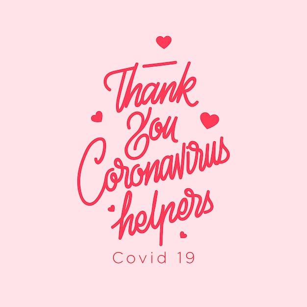 Thank you coronavirus helpers covid 19 | Premium Vector
