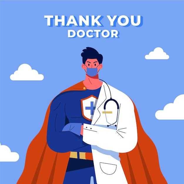 医者のスーパーヒーローの概念をありがとう 無料ベクター
