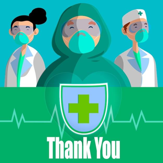 의사와 간호사 개념 감사합니다 무료 벡터