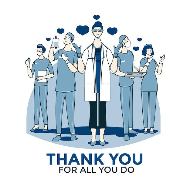 의사와 간호사 디자인 감사합니다 무료 벡터