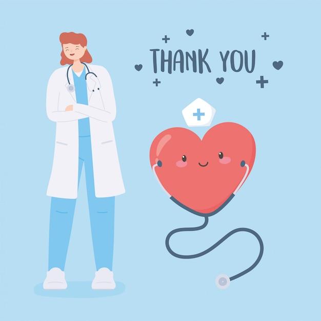 医師と看護師、聴診器と心の漫画を持つ女性医師に感謝 Premiumベクター