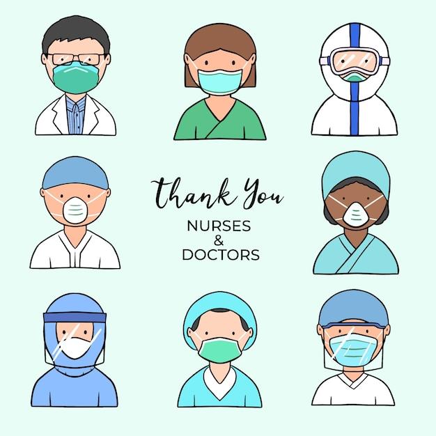 당신에게 의사와 간호사 그림 테마 감사합니다 무료 벡터