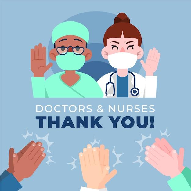 의사와 간호사 그림 개념 감사합니다 무료 벡터
