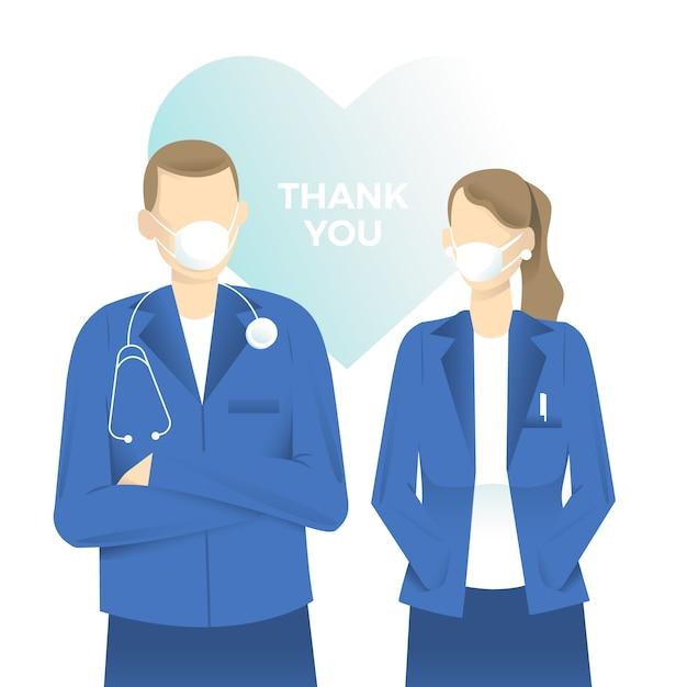 의사와 간호사 지원 메시지 개념을 감사합니다 무료 벡터