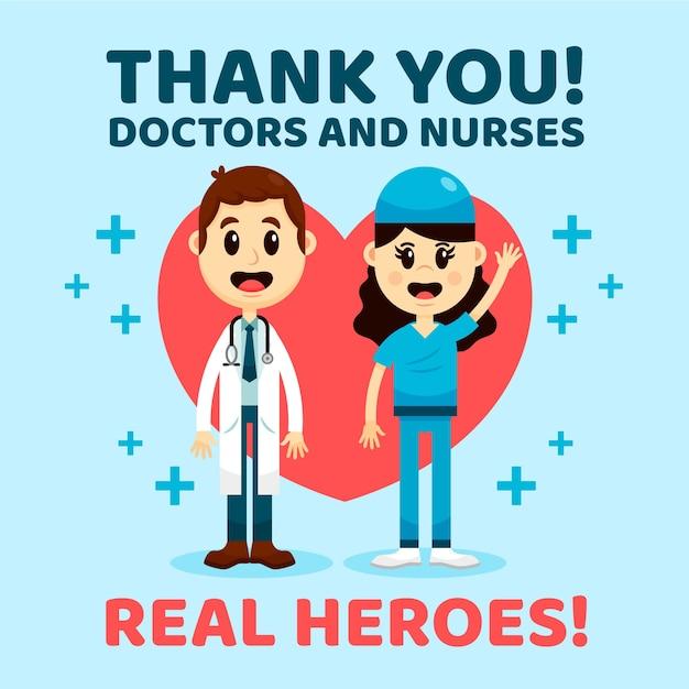 당신에게 의사와 간호사 지원 메시지 스타일 감사합니다 무료 벡터