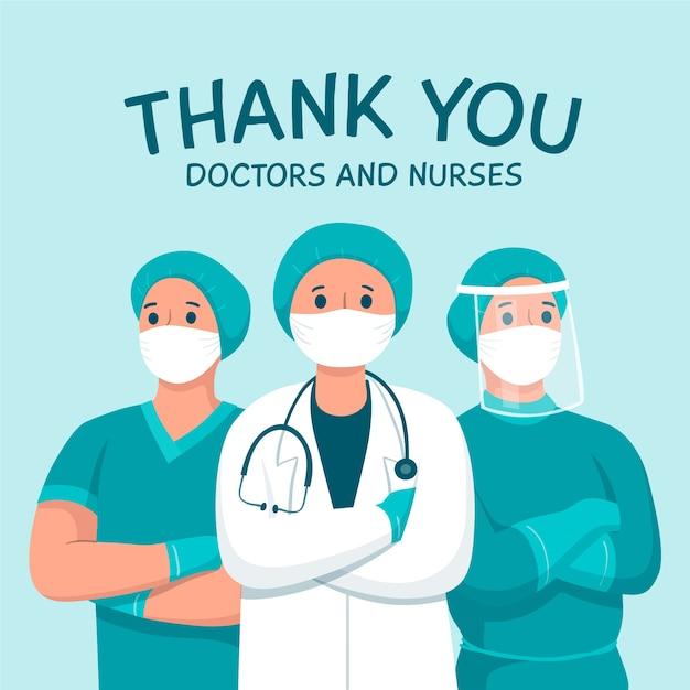 Спасибо врачам и медсестрам поддерживающая тема сообщения Premium векторы