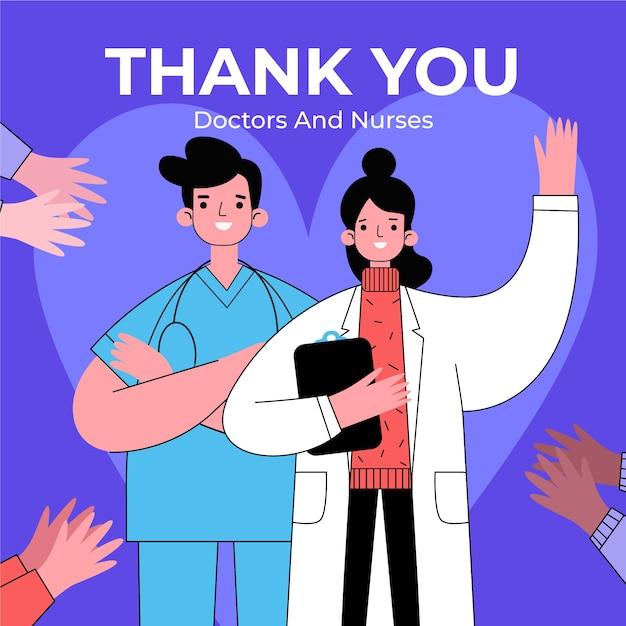 의사와 간호사에게 감사합니다 무료 벡터