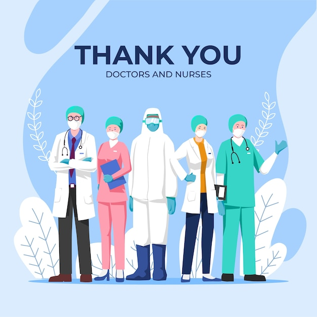 Thank you doctors and nurses Premium Vector