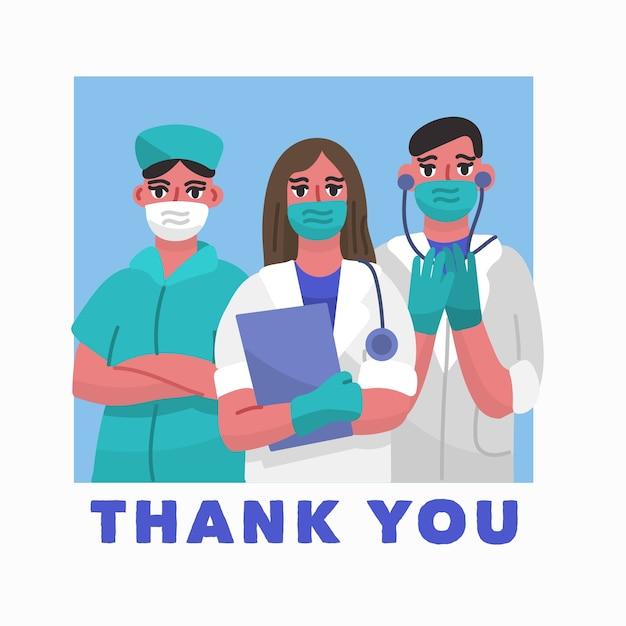 医師がマスクと手袋を着用していただきありがとうございます Premiumベクター