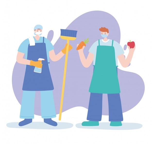 フェイスマスク、コロナウイルス病のイラストを身に着けている不可欠な労働者、クリーナーと農家のキャラクターに感謝 Premiumベクター