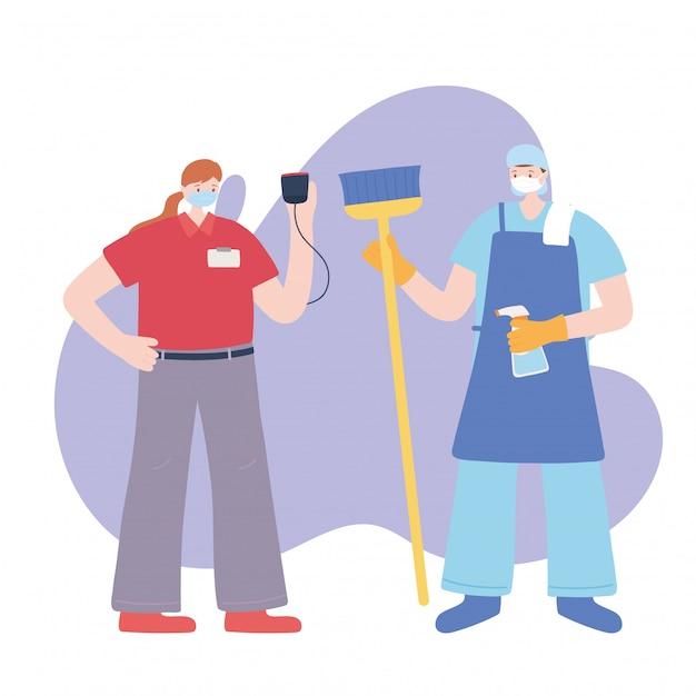 必要不可欠な労働者、クリーナーマン、フェイスマスク、さまざまな職業、コロナウイルス病のイラストを身に着けている配達の女性に感謝 Premiumベクター