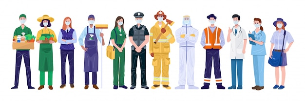 Thank you essential workers concept. various occupations people wearing face masks. Premium Vector
