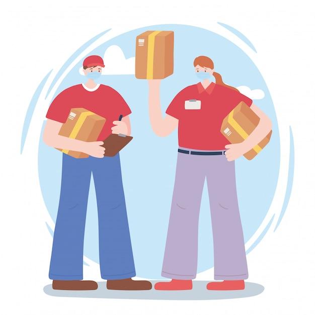 不可欠な労働者、配達の男性と女性、ボックス、フェイスマスク、コロナウイルス病のイラストをありがとう Premiumベクター
