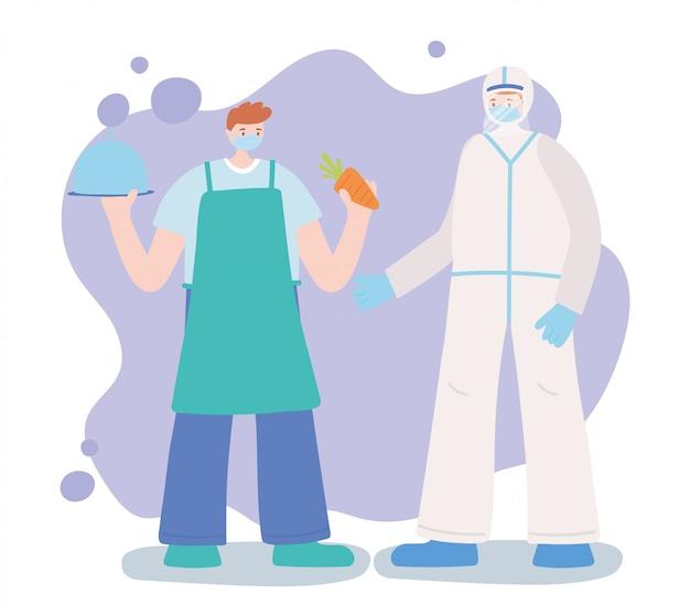 不可欠な労働者、医師、農家のプロのキャラクター、フェイスマスク、コロナウイルス病のイラストをありがとう Premiumベクター