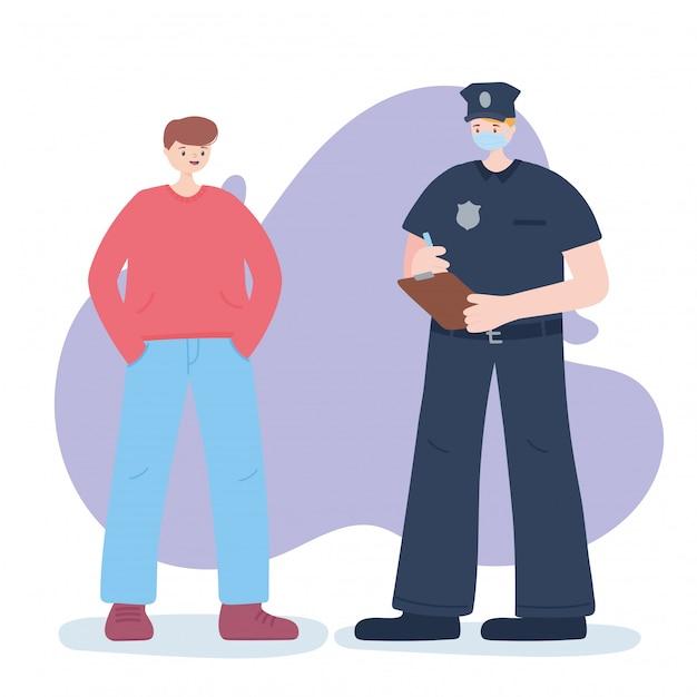 不可欠な労働者、警官と少年、フェイスマスク、コロナウイルス病のイラストを着用していただきありがとうございます Premiumベクター