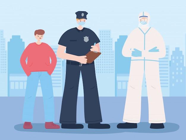 必要不可欠な労働者、警官、フェイスマスクと少年、コロナウイルス病のイラストを身に着けている医者に感謝 Premiumベクター