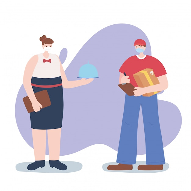不可欠な労働者、ウェイトレス、配達員、フェイスマスク、コロナウイルス病のイラストをありがとう Premiumベクター