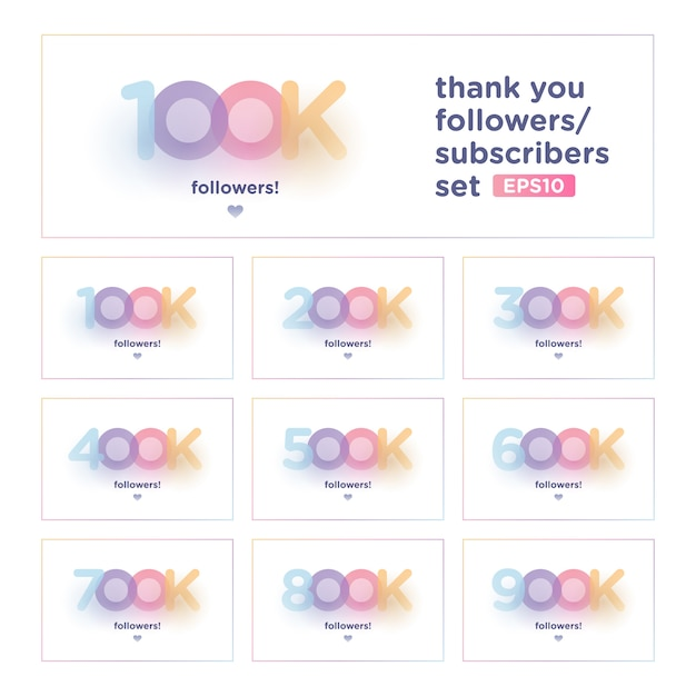 Thank you follower set with colorful background Premium Vector