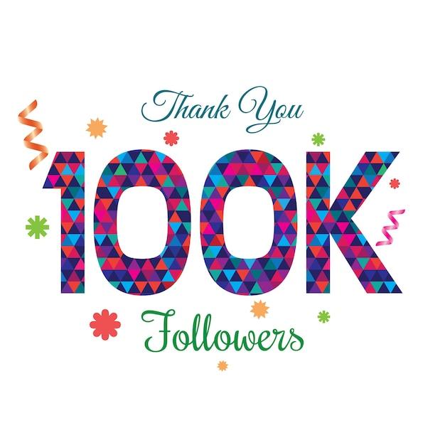 Thank you followers 100k design template Premium Vector