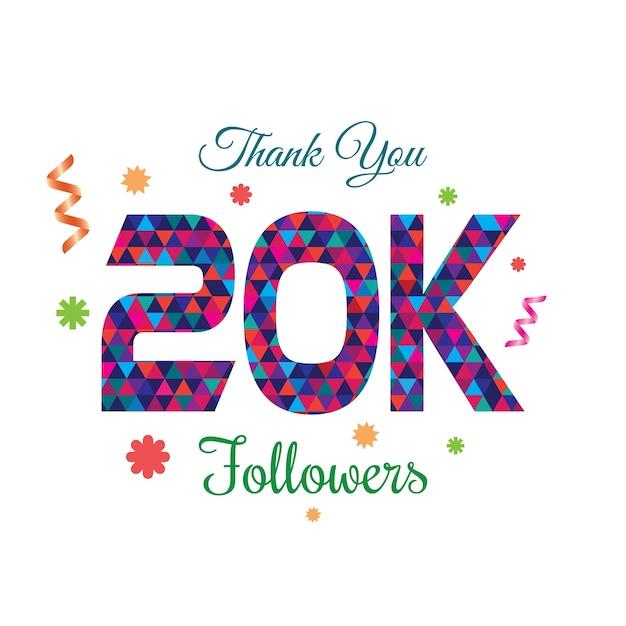 thank you followers 20k design template vector premium download