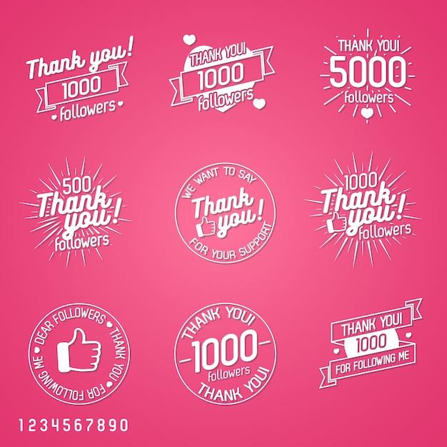 Спасибо подписчикам набор меток, изолированных на розовом фоне. элементы дизайна, вывески, логотипы, фирменные стили, этикетки, значки, одежда, ленты, наклейки и другие предметы. иллюстрация Premium векторы