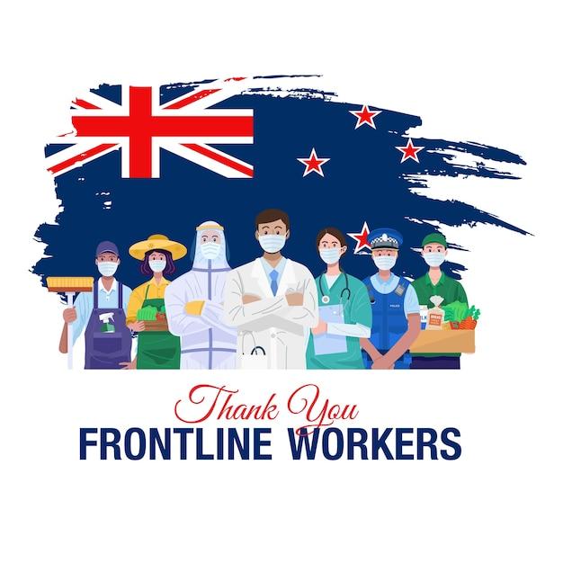 Спасибо передовикам. люди различных профессий, стоящие с флагом новой зеландии. Premium векторы