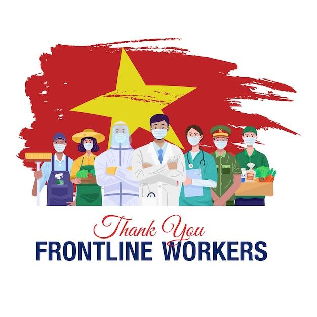 Спасибо передовикам. люди различных профессий, стоящие с флагом вьетнама. Premium векторы