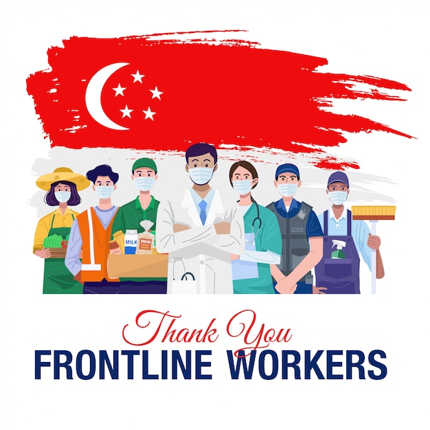 Thank you frontline workers. various occupations people standing with flag of singapore. vector Premium Vector
