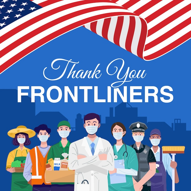 Thank you frontliners. various occupations people standing with american flag. vector Premium Vector