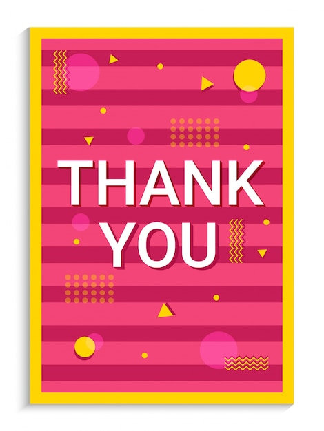 thank you greeting card design on pink background with
