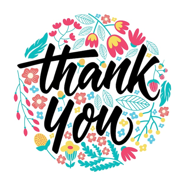 Thank you greeting card lettering Premium Vector