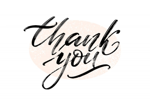 Thank you. hand drawn creative calligraphy and brush pen lettering. Premium Vector