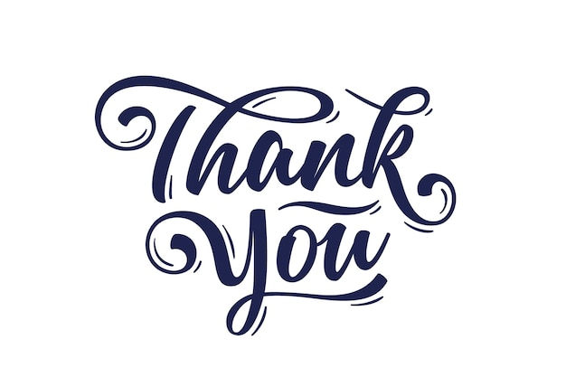 Thank you, hand lettering thank you, decorative graphic on white background. Premium Vector