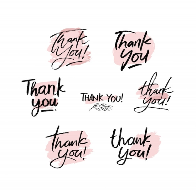 Thank you handwriting set Premium Vector