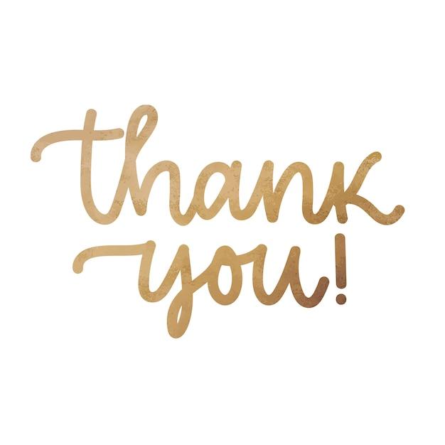 Thank you. handwritten modern brush lettering, golden foil Premium Vector