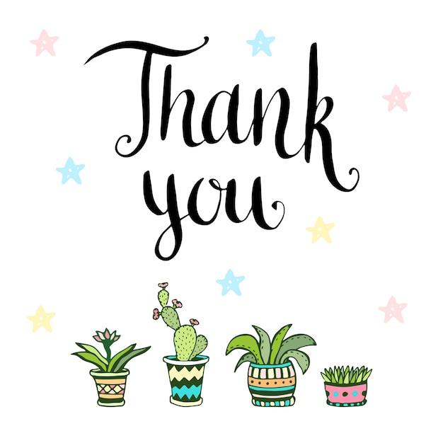 ありがとうございました。鉢植えの花の手書きベクトルカード Premiumベクター