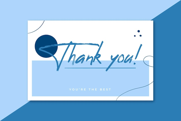 Thank you label card in blue tones Free Vector