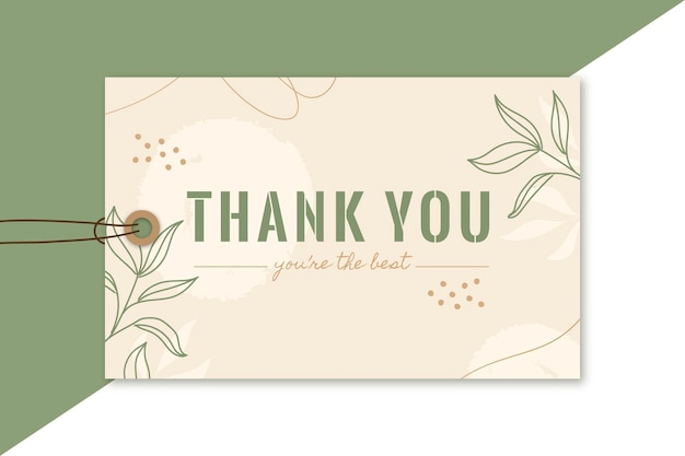 Thank you label editorial template Free Vector
