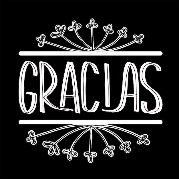 Thank you lettering in spanish: gracias! hand drawn phrase. Premium Vector