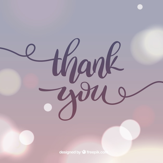 Thank you lettering with blurred background Premium Vector