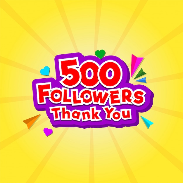 Thank you message for 500 followers with tiny heart shapes Premium Vector