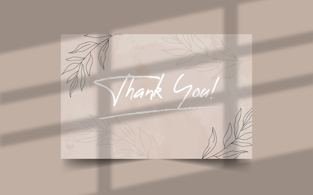 Thank you minimalist wedding card template Premium Vector