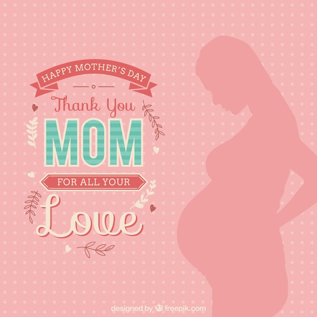Thank you mom card Free Vector