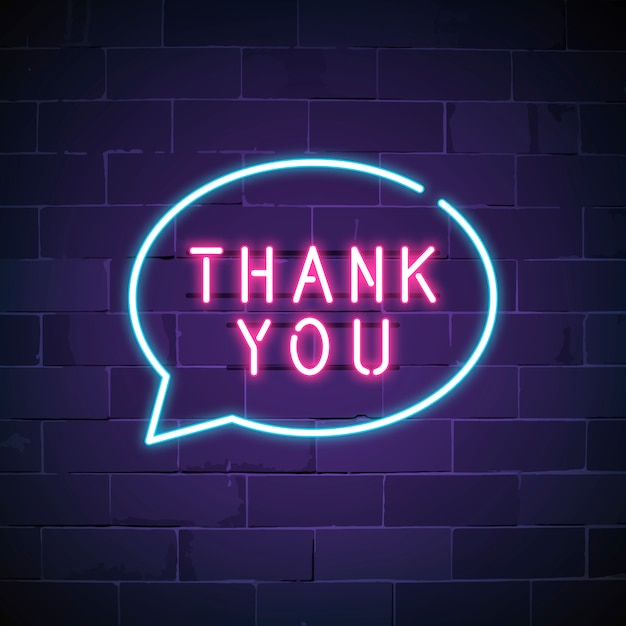 Thank you neon sign Free Vector