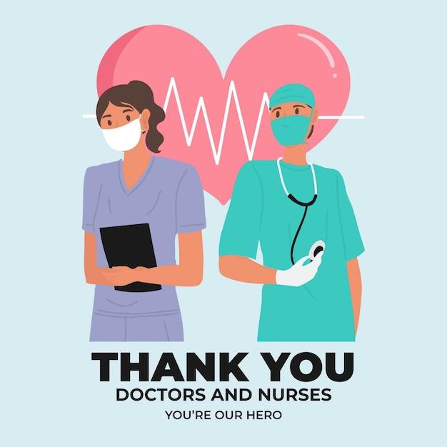 간호사와 의사 메시지 디자인 감사합니다 무료 벡터