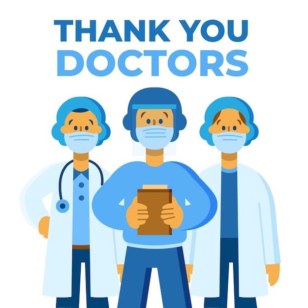 간호사와 의사의 메시지 감사합니다 무료 벡터