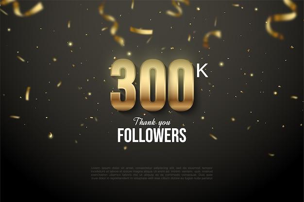 그림 그림과 금색 리본의 비를 가진 30 만 명의 추종자에게 감사합니다. 프리미엄 벡터