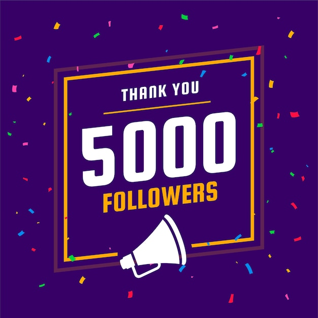 Thank you social media 5k followers and subscribers template Free Vector
